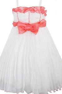Sleeveless Square-neck Empire Dress With Beadings
