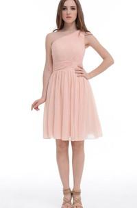 A-line Mini One-shoulder Chiffon&Satin Dress With Ruffles