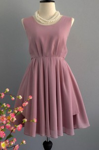 Backless Chiffon Dress With Bow&Zipper&Low-V Back