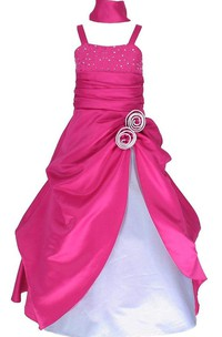 Sleeveless A-line Ruffled Dress With Sequins and Straps