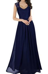 A Line Scalloped Chiffon Lace Sleeveless Evening Dress With Ruffles