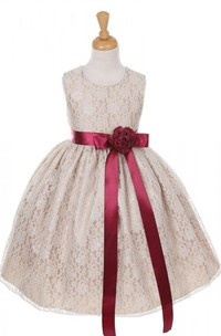 Sleeveless Scoop-neck A-line Lace Dress With Flower and Bow