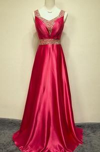 A-line Straps Long Taffeta Sequins Dress