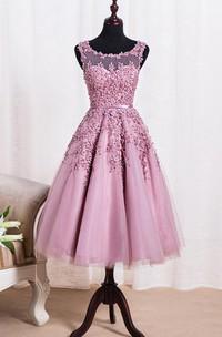 Elegant Scoop Tea Length Dress With Applique Pearls