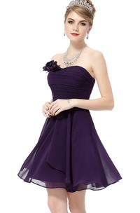 Strapless Mini Chiffon Dress With Flower Detail