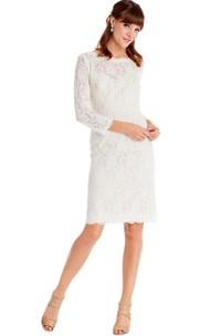Pencil Long-Sleeve Bateau-Neck Midi Lace Little White Dress
