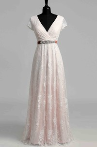 Short Sleeve V-neck Pleated Long Lace Wedding Dress