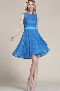 A-Line Short Bateau Sleeveless Lace Lace Zipper Dress