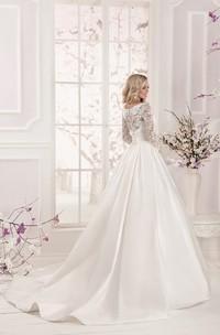 Lace Top Long Sleeve Floor Length Satin Applique Dress