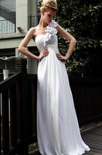 Decent White A-line Floor-length One Shoulder Dress