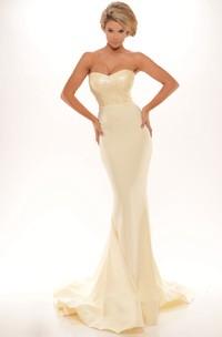 Sheath Sleeveless Sequined Long Sweetheart Prom Dress