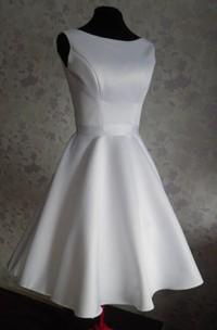Audrey Hepburn 1950 Vintage Inspired Wedding Dress With Tea Length Skirt With V Shaped Back Cutout
