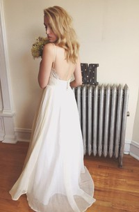 Bohemian Backless Spaghetti Strap Pleated A-Line Long Chiffon Dress Wedding Dress
