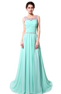 Scoop-neckline Chiffon Long Dress With Lace Up Back