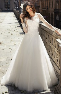 A-Line Maxi Appliqued Long-Sleeve Scoop-Neck Tulle&Lace Wedding Dress