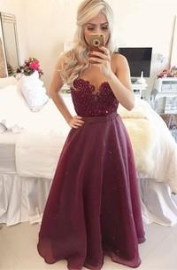 Modern A-line Beadings Burgundy Prom Dress 2018 Zipper Button Back