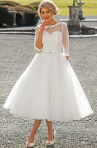 Tea-Length A-Line Bateau Neck Illusion Sleeve Bowed Tulle Wedding Dress