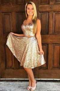 A-line V-neck Sleeveless Sash Ribbon Knee-length Sequins Homecoming Dress