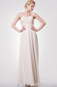 Classic A-line Chiffon Gown With Criss-crossed Back Straps