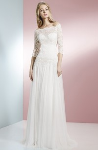 Sheath 3-4 Sleeve Off-The-Shoulder Lace Tulle Wedding Dress With Brush Train