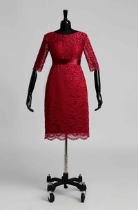 Illusion Half Sleeve Jewel Neck Knee-length Lace Dress