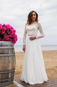 Off-Shoulder Long Sleeve Closed Sheer Back Wedding Dress With Chiffon Skirt