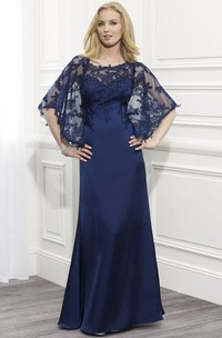 Sheath Scoop-Neck Maxi Appliqued Bat-Sleeve Satin Formal Dress With Cape