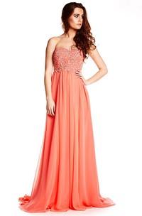 Strapless Beaded Chiffon Prom Dress With Brush Train