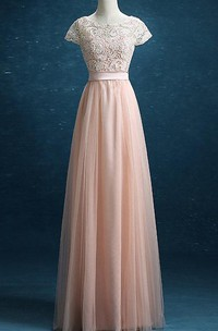 2018 New Prom Lace Tulle Long Prom Tulle Formal Blush Tulle Party Floor Length Dress