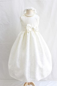 Sleeveless Jewel Neck A-line Pleated Lace Dress With Bow Belt