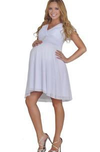 V-neck Short Chiffon Dress With Pleats