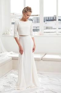 Modest Chiffon 3/4 Sleeve Two Piece Wedding Dress