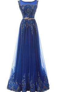 A-line Scoop Sleeveless Long Dress With Sequins