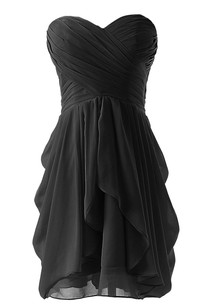 Sweetheart A-line Short Dress With Criss-cross Ruching