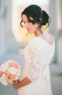 Romantic Beach 3-4 Sleeve Jewel Modest White Bohemian Lace Wedding Dress