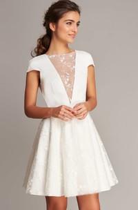 Casual Satin Lace Jewel Neck A Line Short Sleeve Short Length Wedding Dress with Deep-V Back