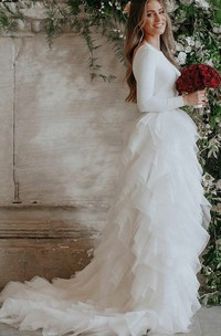Spandex and Organza Low-V Back Wedding Dress with Court Train