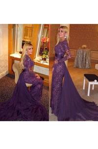 Mermaid Long Sleeve Lace Chiffon Illusion Dress