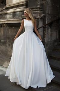 Elegant Satin Bataeu Neckline Floor Length Bridal Gown