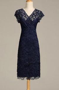 V Neck Cap Sleeve Sheath Lace Midi Dress With V Back
