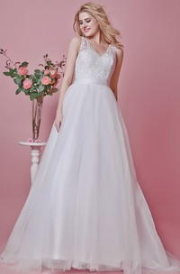Noble Lace-appliqued and Tulle Gown With Illusion Back and Symmetrical Lace
