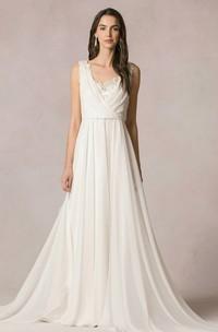 Floor-Length Sleeveless V-Neck Chiffon Wedding Dress
