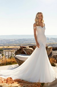 Corset Back With Chapel Train Off-the-shoulder Sexy Mermaid Lace Tulle Wedding Dress