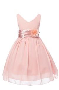 Sleeveless V-neck A-line Dress With Floral Waist