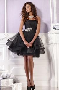 A Line Short Mini Strapless Sleeveless Tulle Zipper Dress