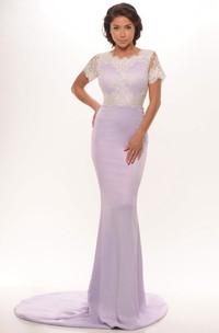 Sheath Short Sleeve Scoop Neck Appliqued Jersey Prom Dress