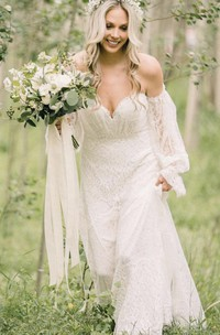 Ethereal Off-the-shoulder A Line Lace Court Train Open Back Wedding Dress with Ruching