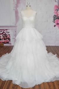 V-back Sleeveless Cute Ruffle Lace Organza Wedding Dress Ballgown With Bow