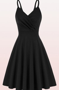 A Line V-neck Jersey Sleeveless Prom Cocktail Dress With Ruffles