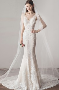 Deep V-back Sleeveless Simple Mermaid Wedding Dress With V-neck Lace And Illusion Top